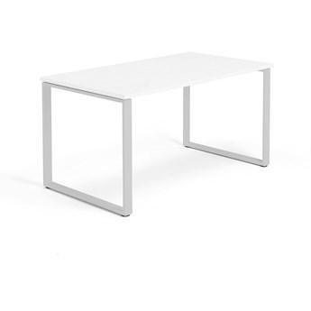 Biurko MODULUS, rama O, 1400x800 mm, biały, srebrny
