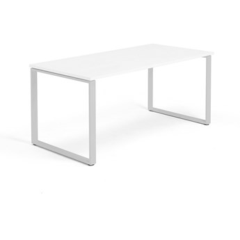 Biurko MODULUS, rama O, 1600x800 mm, biały, srebrny