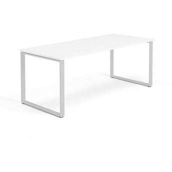 Biurko MODULUS, rama O, 1800x800 mm, biały, srebrny
