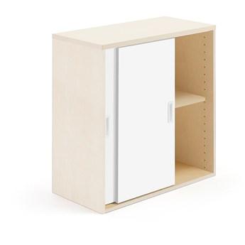 Szafka MODULUS z drzwiami przesuwnymi, 800x800 mm, brzoza, biały