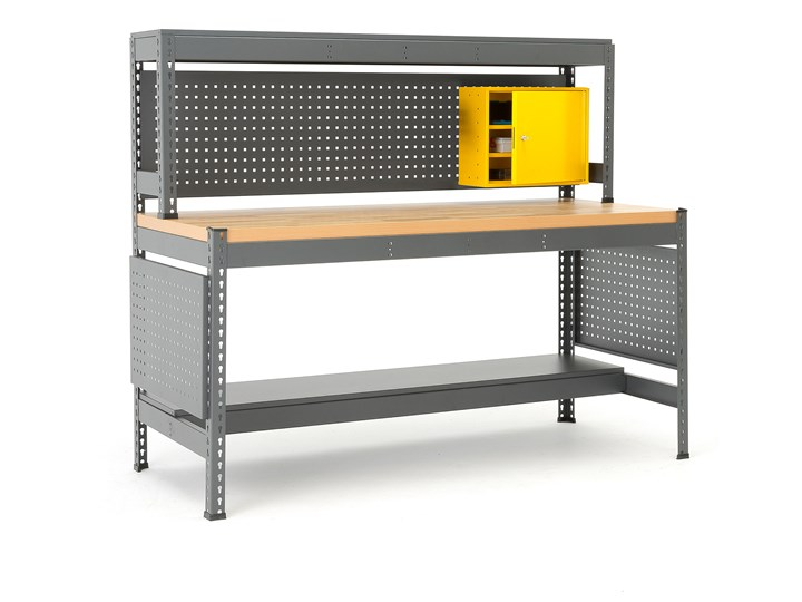 Stół roboczy COMBO, z panelem narzędziowym, oświetleniem i szafką, dąb