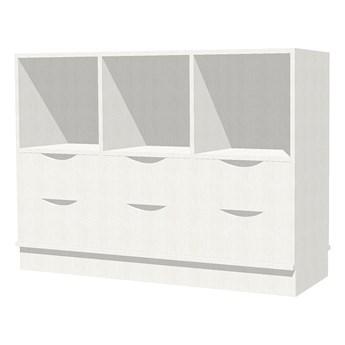Regał MILO, 6 przegród, 6 szuflad, cokół, biały