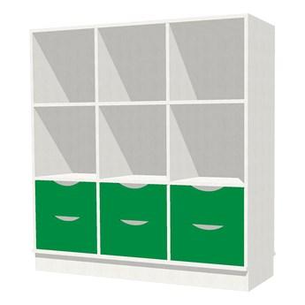 Regał MILO, 9 przegród, 6 szuflad, cokół, biały, zielony