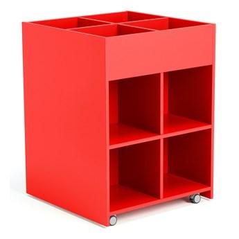 Mobilny regał na książki, dwustronny, 950x700x700 mm, czerwony