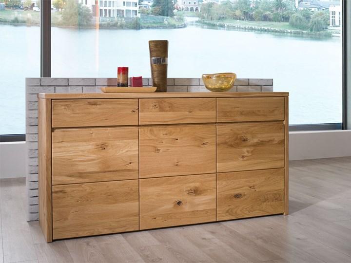 Szeroka komoda dębowa Dream Bedroom Z szufladami Wysokość 80 cm Szerokość 155 cm Głębokość 45 cm Drewno Styl Klasyczny