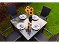 Meble stołowe ECCELLENTE z czarnego technorattanu Stal szkło Stoły z krzesłami wiklina ogrodowe Aluminium metal Zawartość zestawu Krzesła