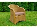 Fotel ogrodowy z okrągłego technorattanu PRIMO ogrodowe wiklina krzesło z podłokietnikami tkanina Styl klasyczny