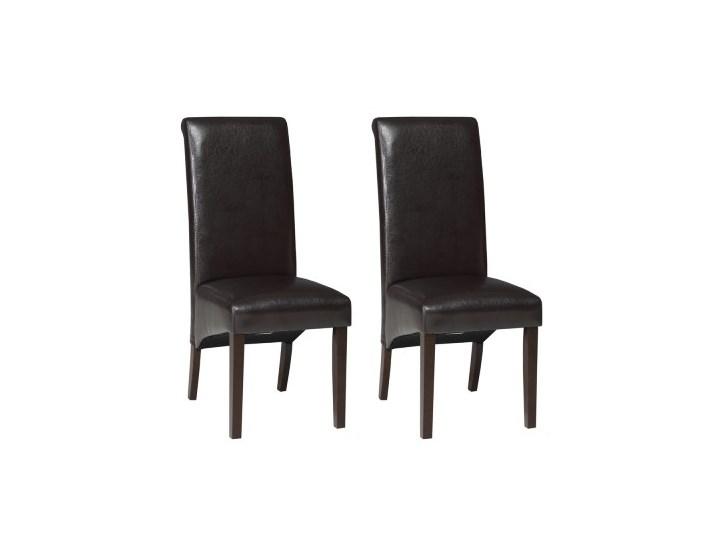Krzesła Verona Ekoskóra Komplet 2 Szt Ciemny Brązwenge Krzesła