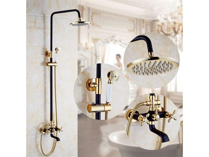 Elegancki Stylowy Zestaw Prysznicowy Czarny Złoty Zestawy