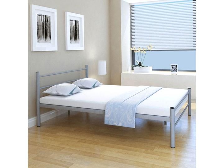 Vidaxl Podwójne Metalowe łóżko Z Materacem 140x200 Cm Szare łóżka