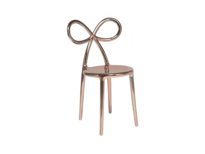 Krzesło Ribbon Metalowe Różowe Złoto