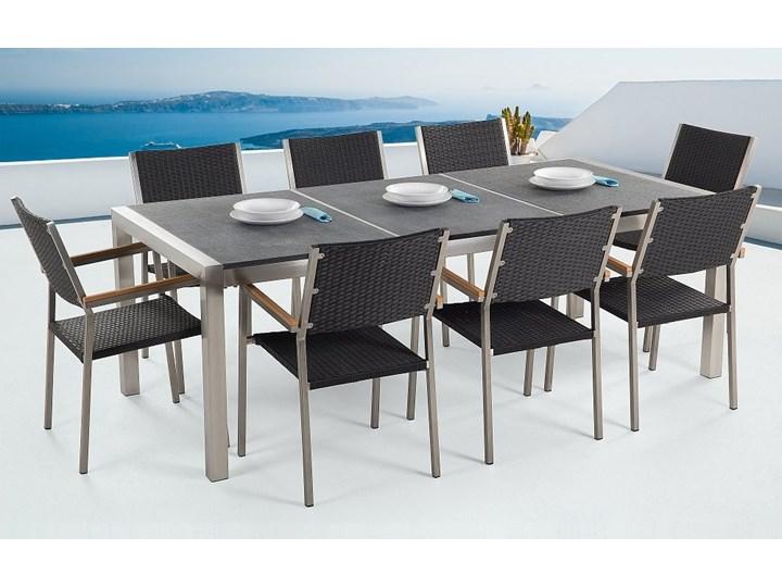Zestaw mebli ogrodowych jadalniany szary stół granit/bazalt 220 x 100 cm 8 czarnych krzeseł z technorattanu sztaplowanych Stoły z krzesłami Stal Zawartość zestawu Krzesła Kategoria Zestawy mebli ogrodowych