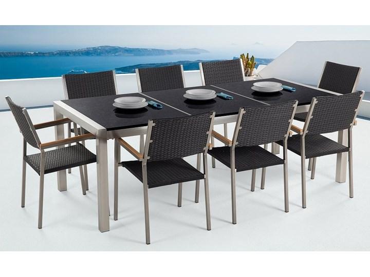 Zestaw mebli ogrodowych jadalniany czarny stół granit/bazalt 220 x 100 cm 8 krzeseł z technorattanu sztaplowanych Stoły z krzesłami Stal Styl Nowoczesny