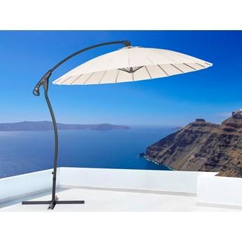 Parasol ogrodowy beżowy metalowy ø 268 cm podwieszany na wysięgniku składany
