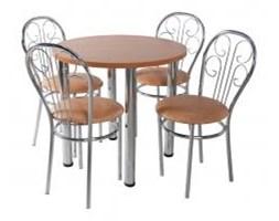 Zestaw kuchenny stół 80 cm koło noga prosta + 4 krzesła Cezar