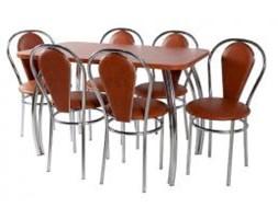 Zestaw kuchenny stół Dacota 70 x 120 cm + 6 krzeseł Tulipan Plus