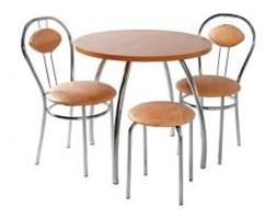 Zestaw kuchenny stół koło noga profilowana 80 cm + 2 krzesła Tiziano + taboret