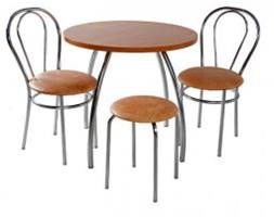 Zestaw kuchenny stół koło noga profilowana 80 cm + 2 krzesła Tulipan + taboret