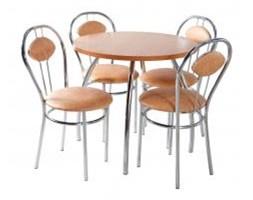 Zestaw kuchenny stół koło noga profilowana 80 cm + 4 krzesła Tiziano