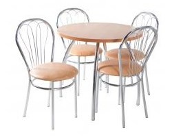 Zestaw kuchenny stół koło noga profilowana 80 cm + 4 krzesła Venus