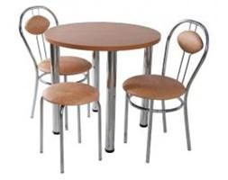 Zestaw kuchenny stół koło noga prosta 80 cm + 2 krzesła Tiziano + taboret