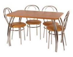Zestaw kuchenny stół kwadrat noga profilowana Dacota 70 x 120 cm + 4 krzesła Tulipan