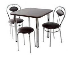 Zestaw kuchenny stół kwadrat noga prosta 80 cm + 2 krzesła Tiziano + taboret