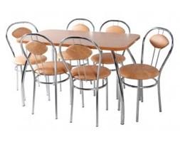 Zestaw kuchenny stół noga profilowana 120 x 70 cm + 6 krzeseł Tiziano