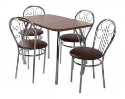 Zestaw kuchenny stół prostokąt noga profilowana Dacota 100 x 65 cm + 4 krzesła Cezar