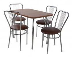 Zestaw kuchenny stół prostokąt noga profilowana Dacota 100 x 65 cm + 4 krzesła Vega