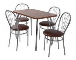 Zestaw kuchenny stół prostokąt noga profilowana Dacota 100 x 65 cm + 4 krzesła Venus