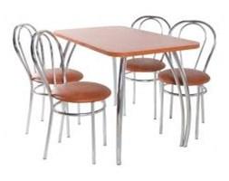 Zestaw kuchenny stół prostokąt noga profilowana Dacota 120 x 70 cm + 4 krzesła Tulipan