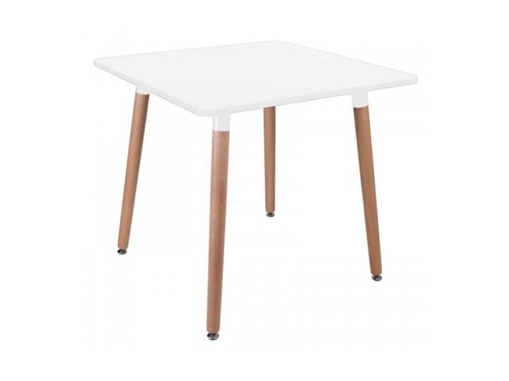 """Stół kwadratowy """"PARIS"""" 80x80 cm - biały Wysokość 75 cm Drewno Płyta MDF Styl klasyczny Rozkładanie"""