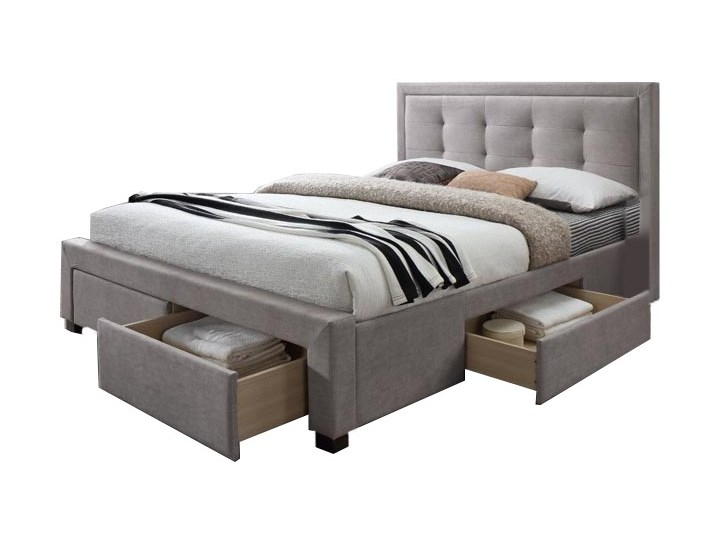 łóżko Tapicerowane Eliza 160x200 Beżowe Z Szufladami łóżka Do