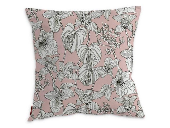 Dekoria Poszewka Kinga na poduszkę, białe kwiaty na różowym tle, 43 × 43 cm, Brooklyn