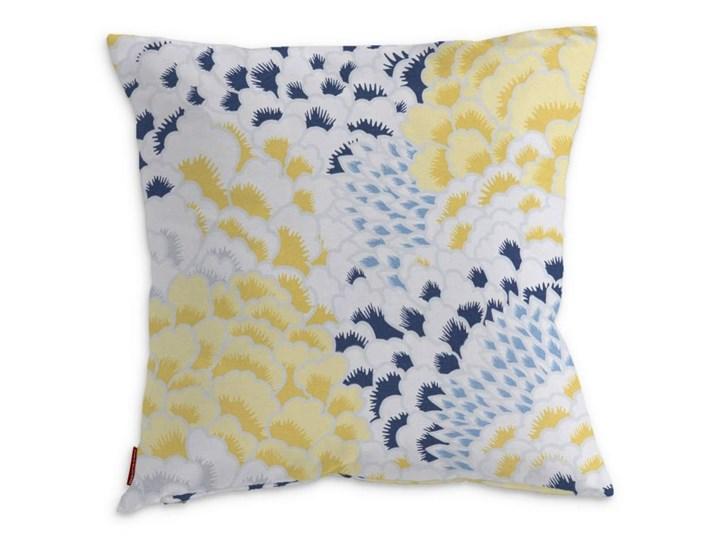 Dekoria Poszewka Kinga na poduszkę, żółto-szaro-niebieskie motywy roślinne, 43 × 43 cm, Brooklyn