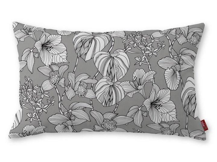 Dekoria Poszewka Kinga na poduszkę prostokątną, białe kwiaty na szarym tle, 60 × 40 cm, Brooklyn