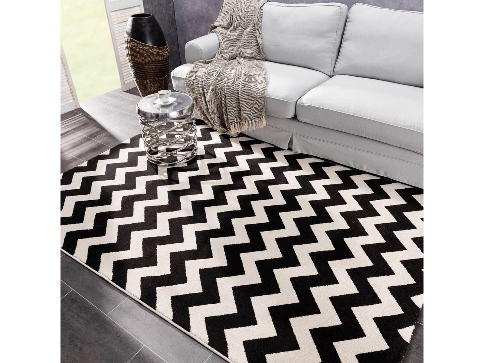 Dekoria dywan modern zygzak black paper white 160x230cm 160 x 230 cm dywany zdjęcia pomysły inspiracje homebook
