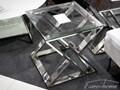 STOLIK JJ-1032 50x50x51cm Wysokość 51 cm Metal Kwadratowe Szkło Rodzaj nóg Krzyżak