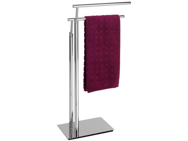 Łazienkowy stojak na ręczniki LISBOA - 2 ramienny, WENKO Wieszaki na ręczniki Podwójny Metal Wolnostojący kamień Styl klasyczny