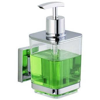 Dozownik do mydła QUADRO,Vacuum-Loc stal nierdzewna - 340 ml, WENKO
