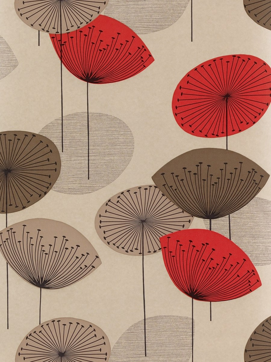 Sanderson dandelion clocks wallpaper dopwda101 red - Sanderson dandelion clocks wallpaper ...