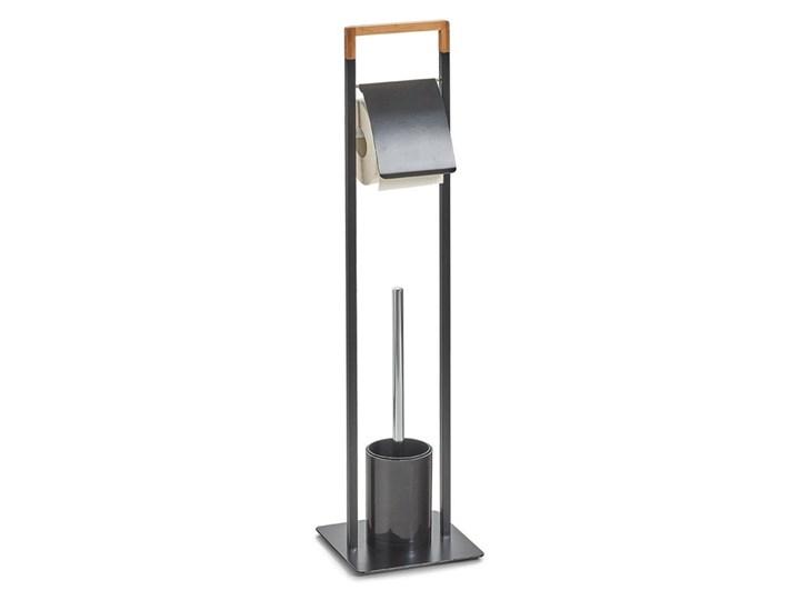 Stojak na papier toaletowy i szczotkę do WC - 2 w 1, ZELLER Metal Uchwyt Bambus Styl klasyczny