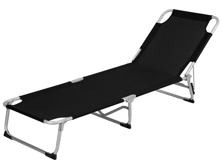 Składane łóżko Polowe Turystyczne Aluminium Kolor Czarny
