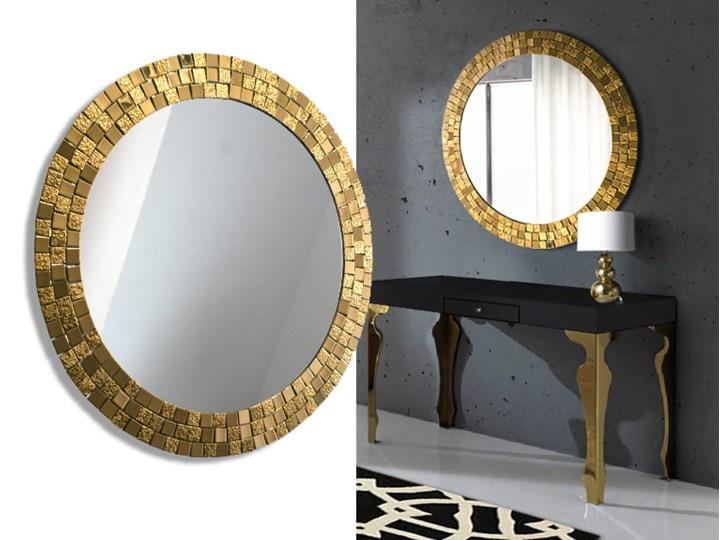 Lustro Aurea Gold Okrągłe Ścienne Lustro z ramą Styl Klasyczny