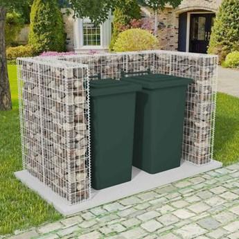 vidaXL Gabion osłonowy na 2 kosze na śmieci, stalowy, 180x100x120 cm