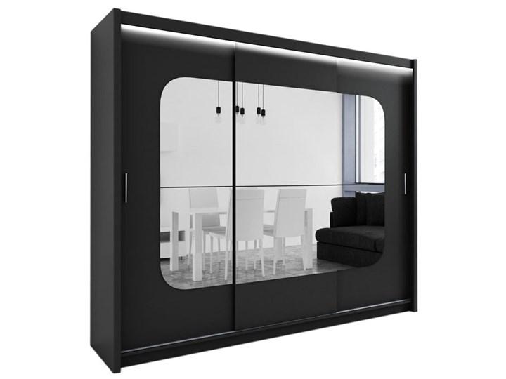 Czarna szafa Barcelona z lustrami - Szybka Dostawa Szerokość 250 cm Głębokość 61 cm Wysokość 215 cm
