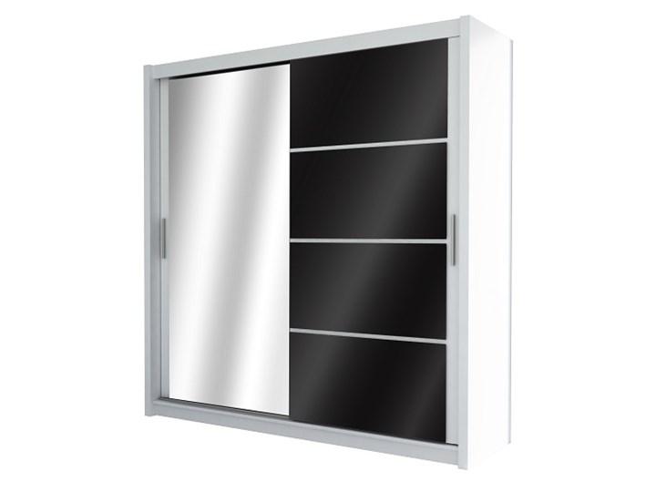 Szafa przesuwna Brandon 203-Białe Szkło-Super Cena Głębokość 61 cm Wysokość 215 cm Szerokość 203 cm Przesuwne