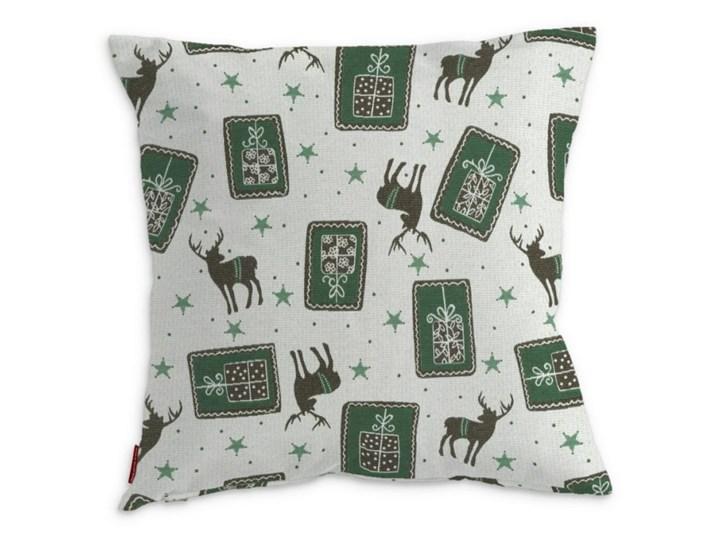 Dekoria Poszewka Kinga na poduszkę, zielono-szare renifery na jasnym tle, 43 × 43 cm, Christmas