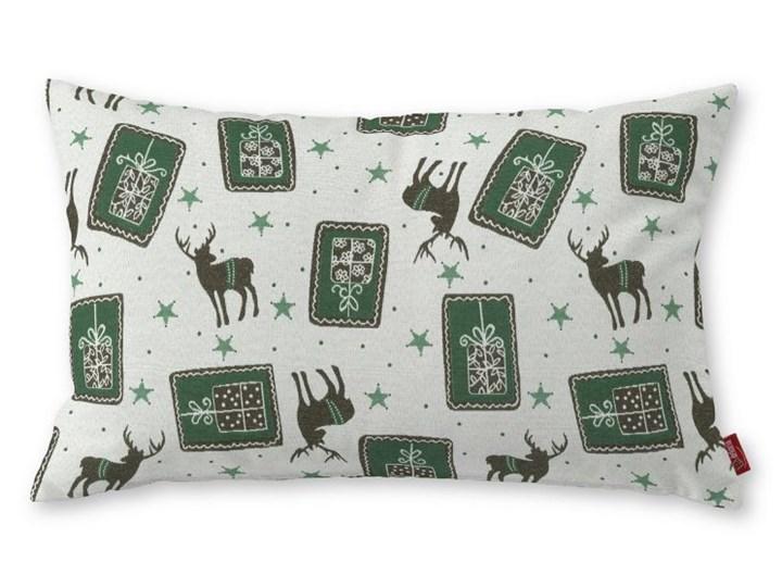 Dekoria Poszewka Kinga na poduszkę prostokątną, zielono-szare renifery na jasnym tle, 60 × 40 cm, Christmas